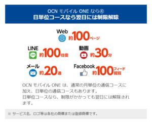 OCNモバイル日単位コース